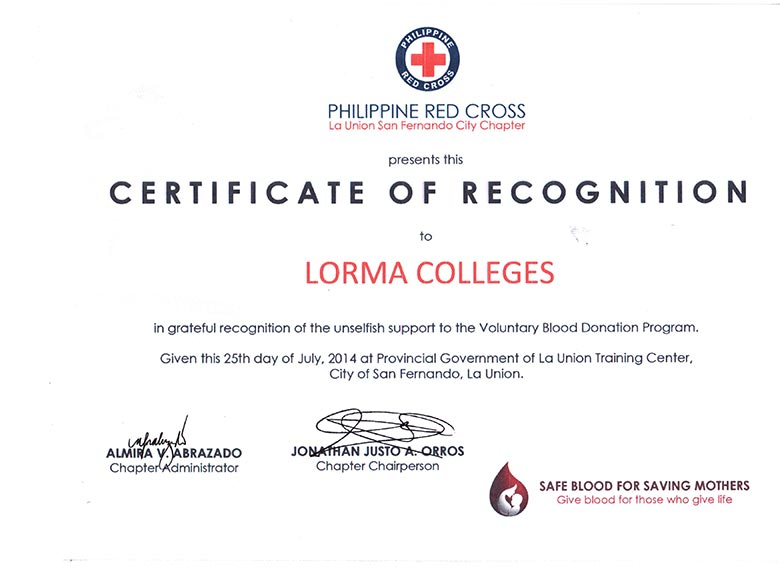 Certificate of Recognition - Red Cross