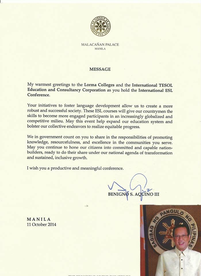 Message of the President of the Philippines