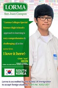 "Chae ""Joel"" Heon Senior StudentLCSSHS"