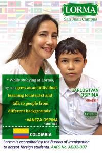 Vaneza Ospina Mother of Grade 4 Carlos Ivan Ospina