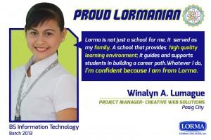 Winalyn Lumague BS Information TechnologyBatch 2013