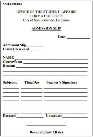 Admission-Slip